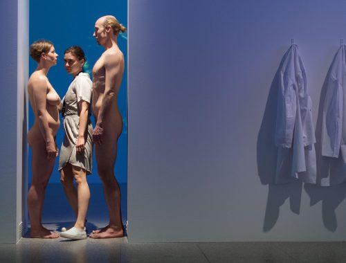 Exposição faz visitantes se espremerem entre casal nu para entrarem