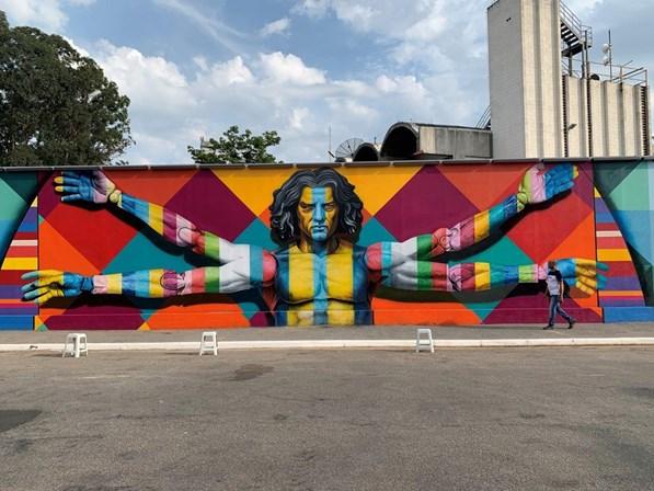 Kobra mural Homem Vitruviano leonardo da vinci 500 anos